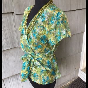 🌀Silk Flowered Wrap Blouse🌀